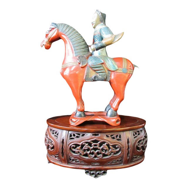 Early 20th Century Chinese Figural Lacquerware Figurine Man on Horse W/Finely Carved Rosewood Stand For Sale