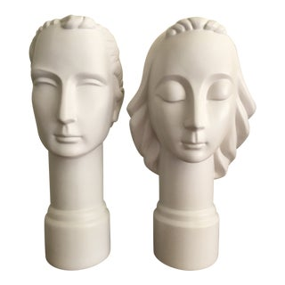 Male and Female Ceramic Bust Sculptures - a Pair For Sale