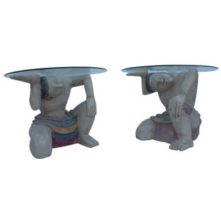 Mid-Century Hand Carved Wood Male Figures Side Tables - Pair For Sale