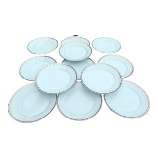 Ch Field Limoges Robert Haviland & C. Parlon Malmaison Platinum Banded Dinner Plates - Set of 12 For Sale