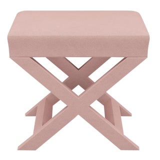 X Bench in Blush Velvet For Sale
