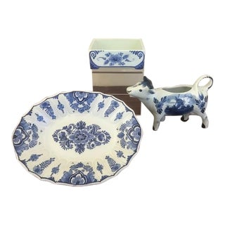 Mid-Century Delft Hand Painted Dutch Faience Serving Set - Set of 3 For Sale