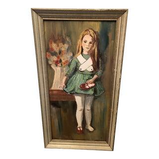 "1960s ""Girl Holding Shoe"" Portrait Painting, Framed For Sale"