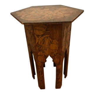 1908 Antique Hand Carved Inlaid Floral Side Table Dated For Sale