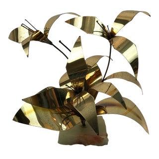 """Mario Jason Brutalist """"Lily"""" Brass Sculpture"""