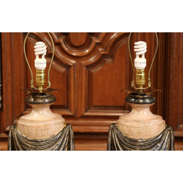 Pair of Italian Carved Lamp Bases With Polychrome Antique Painted Finish For Sale In Dallas - Image 6 of 12