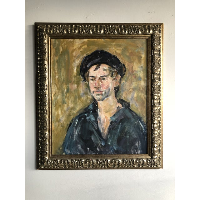 Vintage Oil Portrait of a Man on Canvas, Framed For Sale - Image 10 of 10