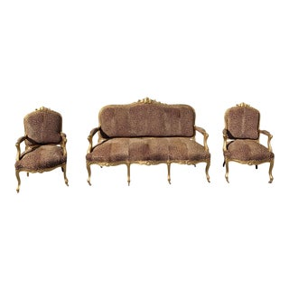 19th Century Louis XV Style Giltwood Carved Three-Piece Salon Suite - Set of 3 For Sale