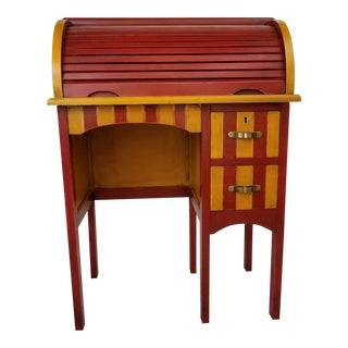 1950s Children's Whimsical Hand Painted Roll Top Desk
