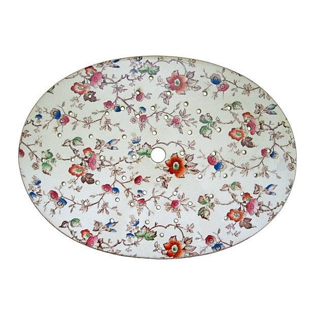 Staffordshire Antique Floral Chintz Drainer/Trivet - Image 1 of 2