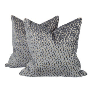 Blue Velvet Tanzania Spotted Pillows, a Pair For Sale