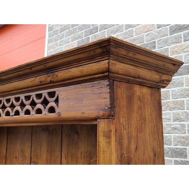 Brown Antique 19th Century Irish Pine 2 Part Chicken Coop Cupboard Cabinet Hutch For Sale - Image 8 of 13