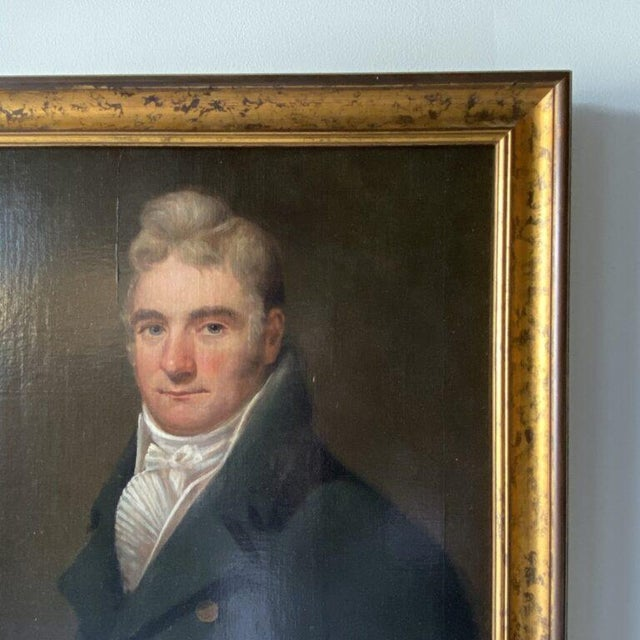 Portraiture 19th Century British School Portrait of a Gentleman in a Cravat Oil Painting, Framed For Sale - Image 3 of 5