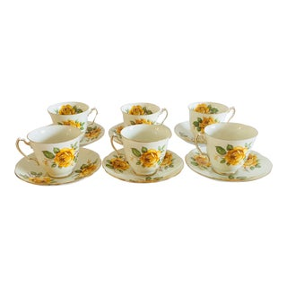 Adderley EnglishChina Yellow Rose Tea Service 12-Pcs For Sale