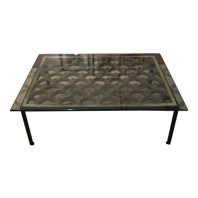 Industrial Iron & Glass Top Coffee Table - Image 1 of 5