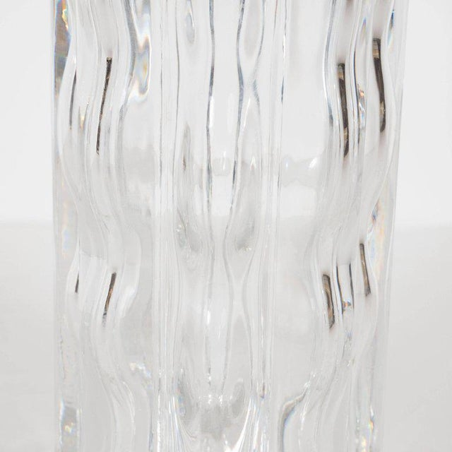 Blown Glass Swedish Mid-Century Modern Translucent Handblown Rippled Glass Vase by Orrefors For Sale - Image 7 of 10