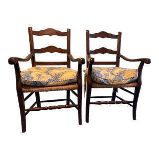 Early 20th Century French Country Arm Chairs With Rush Seats - a Pair For Sale