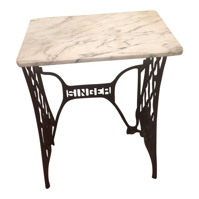 Marble top singer sewing machine table chairish marble top singer sewing machine table watchthetrailerfo