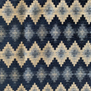 Hollywood Regency Designers Guild Luxe Heavyweight Blue Woven Geometric Fabric- 3/4 Yard For Sale