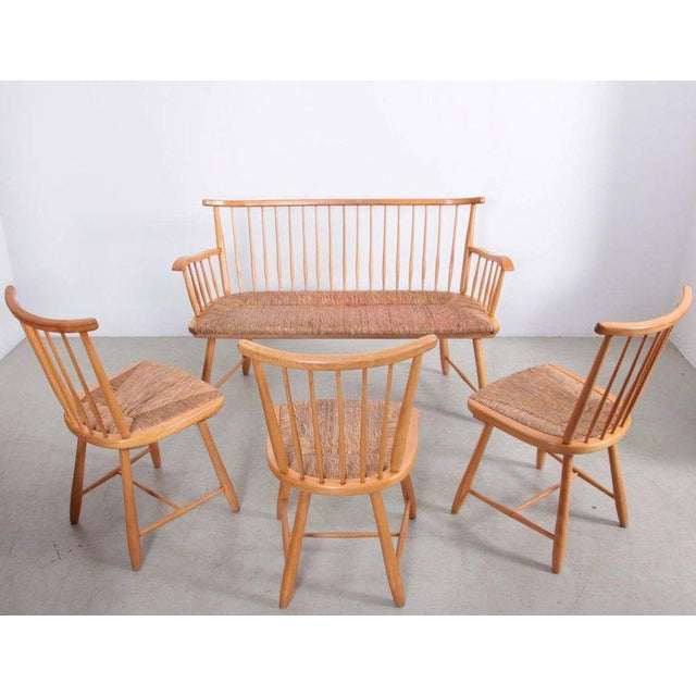 Very good dining set by German Shaker inspired designer Arno Lambrecht made in solid beech and rush seat. Measures: Table...