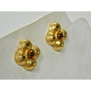 Givenchy Carved Amber Cabochon Glass Earrings Preview