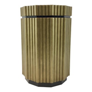 Modern Groove Black and Gold Storage Side Table For Sale