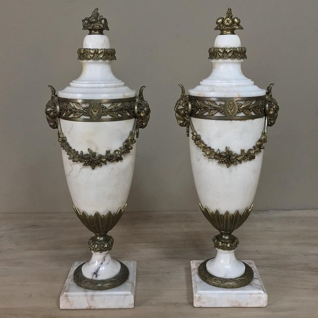 Pair 19th Century French Louis XVI Marble Cassolettes ~ Mantel Urns With Bronze Mounts For Sale - Image 12 of 12