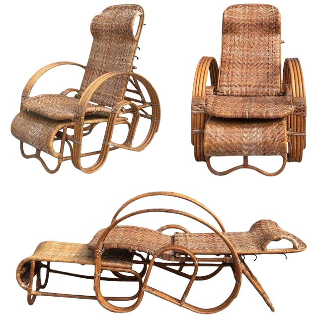 20th Century Adjustable Bentwood and Rattan Chaise Longue With Ottoman For Sale