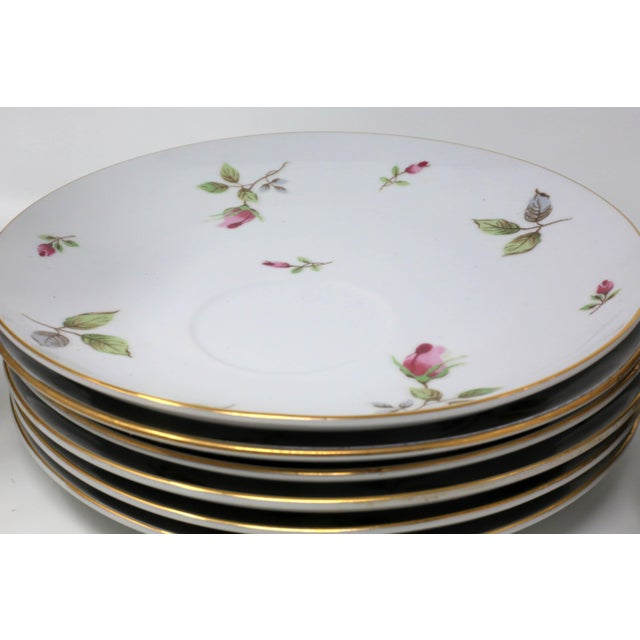 Green 1970s Chinoiserie Royal Geoffrey Rosebud Snack Plates and Cups - 12 Piece Set For Sale - Image 8 of 13