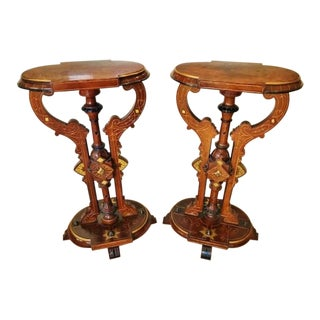 Late 19th Century Vintage American Walnut & Burl Pedestals- a Pair For Sale