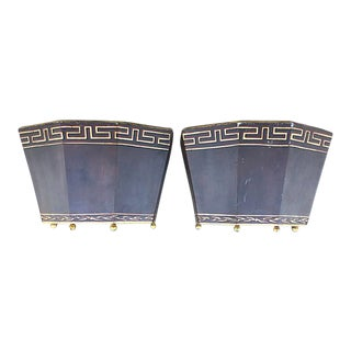 Wall Mounted Metal Planters - A Pair For Sale