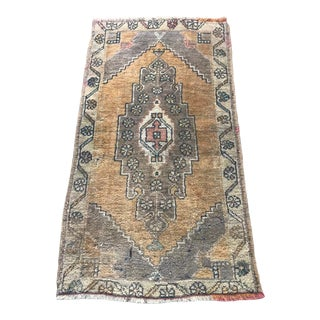 1960s Vintage Petite Turkish Oushak Rug - 2′ × 3′5″ For Sale