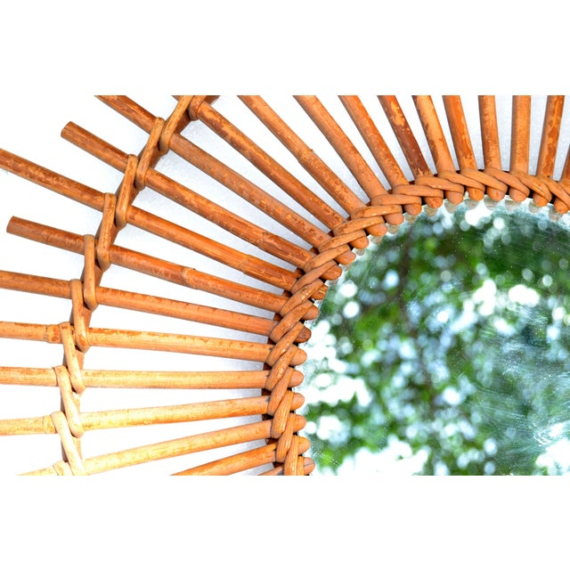 Bohemian Chic French Handcrafted Round Ficks Reed & Woven Wicker Wall Mirror For Sale - Image 9 of 13