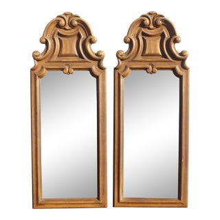Pair Vintage French Provincial Wall Mantle Mirrors W Scrolls and Flourishes For Sale