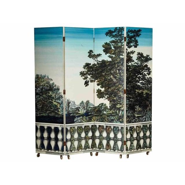 "Mediterranean Folding Screen ""Bosco Con Balaustra-Libri"" by Piero Fornasetti For Sale - Image 3 of 11"