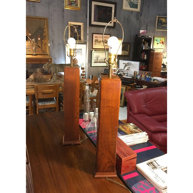 Mid-Century Modern Mid-Century Walnut Table Lamps - a Pair For Sale - Image 3 of 5
