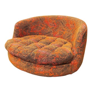 1960s Milo Baughman Original Large Jack Lenor Larsen Round Swivel Lounge For Sale