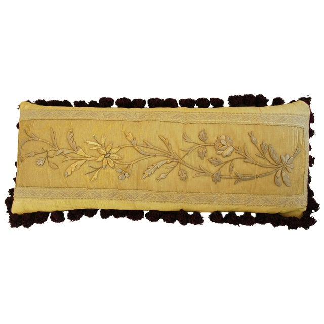 Antique French Silk Embroidered Pillow - Image 1 of 8