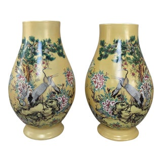 Pair Antique Hand-Painted Chinese Vases For Sale