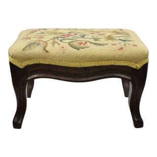 Antique Victorian Walnut Stool Yellow Floral Needlepoint Small Ottoman Footstool For Sale