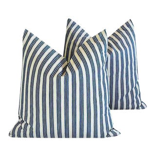 "21"" Custom Tailored Blue & White French Ticking Feather & Down Pillows - Pair"