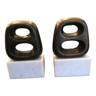 Vintage Bronze & Marble Bookends - a Pair For Sale