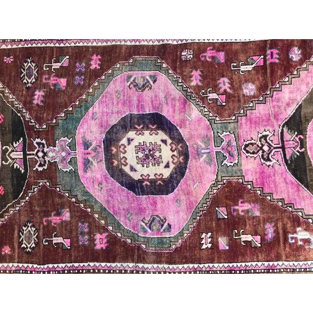"1970s 1970's Vintage Caucasian Handmade Pink Runner-4'9'x14"" For Sale - Image 5 of 11"