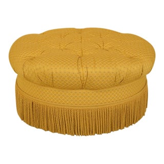 Traditional Edward Ferrell Ltd Round Tufted Yellow Ottoman For Sale