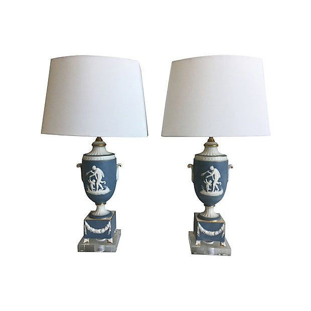 Neoclassical 1950s Italian Jasperware Lamps & Shades - a Pair For Sale - Image 3 of 11