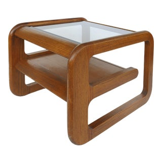 Lou Hodges California Mid-Century Side Table With Inset Glass For Sale