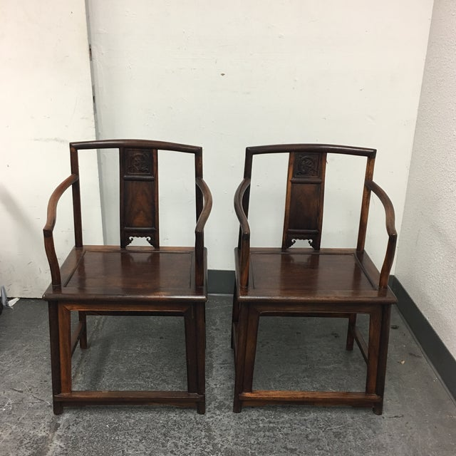 Chinese Rosewood Arm Chairs- A Pair - Image 2 of 9