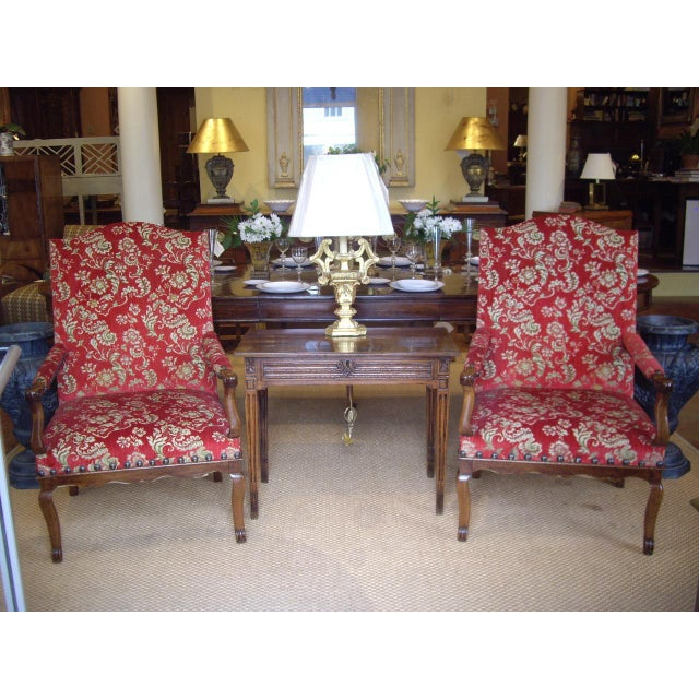 Pair of Large Provincial Regence' Armchairs For Sale In New Orleans - Image 6 of 7