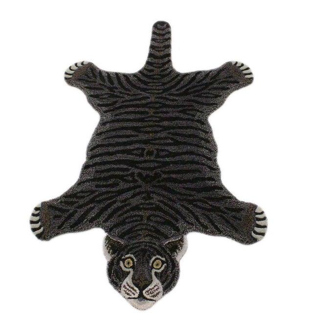 Black Contemporary Decorate Wild Tiger Design Handcuffed Area Rug- 3′ × 5′ For Sale - Image 8 of 9