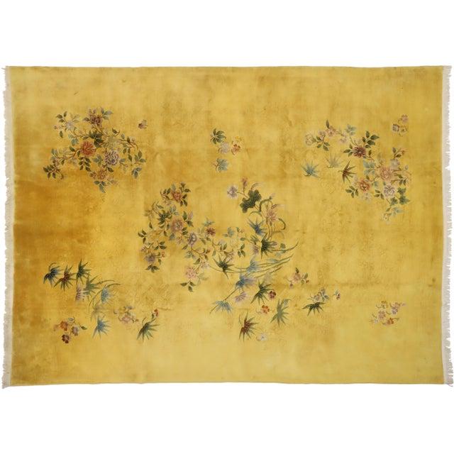Citrine & Saffron Antique Chinese Art Deco Rug - 10'08 X 14'06 For Sale - Image 9 of 10